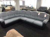 Large Corner sofa Faux leather grey