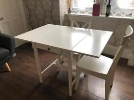 Ikea Ingatorp Folding Drop-Leaf Table in White Wood with FOUR Ingolf Chairs to match