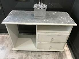 White shabby chic tv stand/ tv cabinet with glitter top