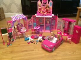 Barbie castle, car, doll bundle