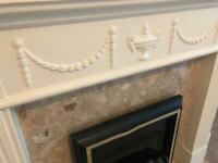 Electric fire and surround marble