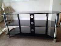 Large black glass/silver legs TV stand. Excellent condition