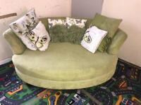DFS Lime Green Snuggler sofa chair snuggle