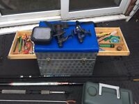 Complete Fishing Set Up - Fishing Seat Box, Tackle Box, Pole, 2 Rods, Bait Box, Reels & MORE EXTRAS!