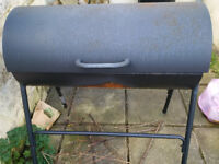 Charcoal Oil Drum BBQ with Warming Rack - USED 1 season