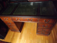Reproduction antique look leather topped desk