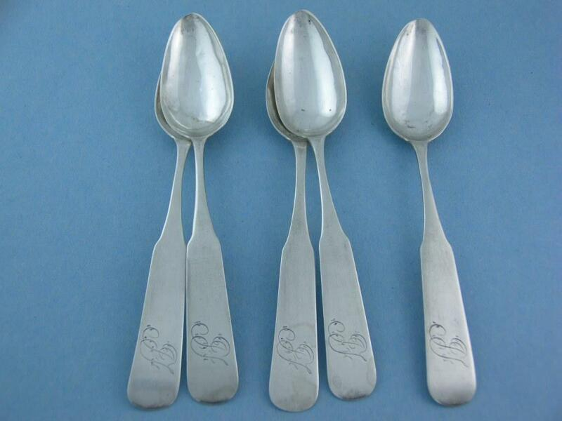 5 Early Coin Silver Spoons STEPHENS BAKER Wilmington North Carolina NC 1800s