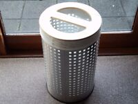 LAUNDRY BASKET STAINLESS STEEL BODY WITH WOODEN LID AND LINEN BAG NEVER USED