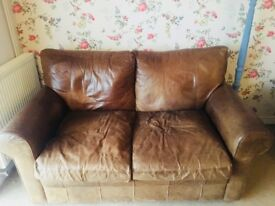 Leather 2 seater sofa and armchair and storage box