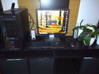 Windows 10 Desktop with monitor, keyboard, mouse and speakers. i3 8gb ram