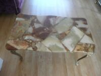 Coffee Table Marble Effect Top With Gold Frame