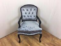 Louis Style Steel Grey Crushed Velvet Vintage Bedroom Chair