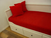 WHITE IKEA HEMNES DAY BED WITH 2 MATTRESSES INCLUDED