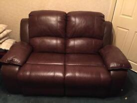 Leather two seater recliner sofa & 2 recliner chairs