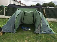 Outwell twin falls 4 man tent with ground sheet and 3 roll mats