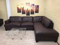 Comfy Brown Leather Corner Sofa