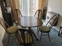 Ercol Dining table and chairs + rocking chair