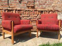 Set of Original Vintage Central European Design Chunky 60s Chair Wooden Frame