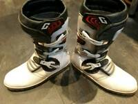 Trials bike boots, helmet, gloves and trousers