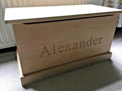 Handmade, Solid Oak, Personalised Toy Box with soft close lid Oak Toy Box