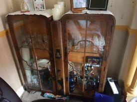 Edwardian china cabinet & matching coffee table