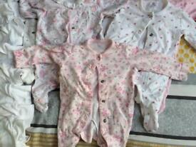 Girls first size vests and baby grows