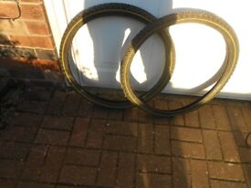 2 mountain bike tyres, brand new, size 26 by 1.95