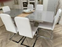 GREY GLASS DINING TABLE & 6 WHITE CHAIRS VGC