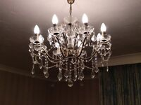Chandelier - eight arm branches, classical style, ornate and beautiful.