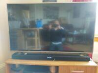LG TV 50inch with remote plus LG 100 watt sound bar with remote