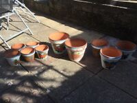Set of terracotta pots for sale in various sizes