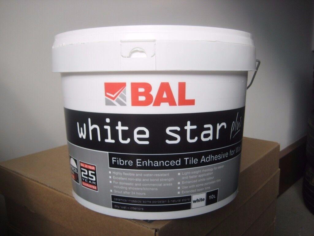 Bal white star plus wall tile adhesive white 10 litres unopened bal white star plus wall tile adhesive white 10 litres unopened dailygadgetfo Gallery
