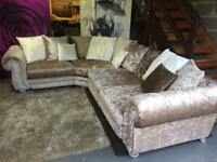 SCS Quantas Crushed Velvet Corner Sofa With Scatter Back Cushions in Champagne and Pearl Colours