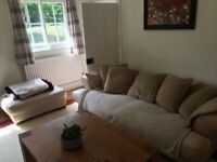 FREE TO COLLECT. Leather Sofa, cream, used, very comfy, italian, wear on leather