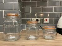 3 glass Kilner jars, perfect for storing dried food