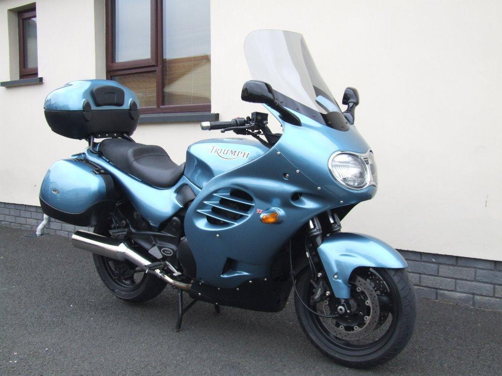 triumph trophy 1200 t312 azure blue 2002 full luggage only 16000 miles mot sep 2015 in. Black Bedroom Furniture Sets. Home Design Ideas