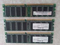 1 GB RAM DDR 400 MHZ + 2 x 256 MB RAM DDR