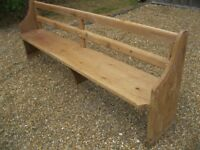 PINE CHURCH PEW. Delivery possible. Also for sale : pine table, more pews / benches & chapel chairs.