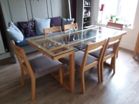 Oak and glass top 6 seater dining table & chairs