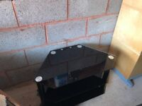 Black Glass & Chrome Television Stand up to 40ins- VGC
