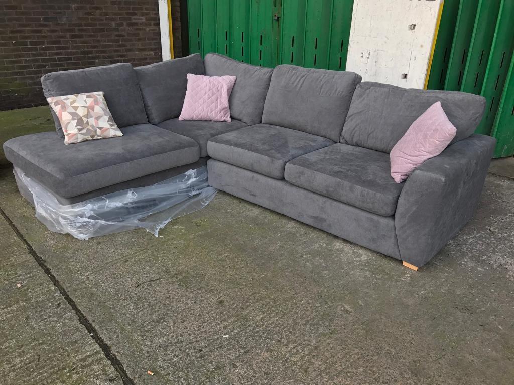 Dfs Eleanor Grey Graphite Fabric L Shape Corner Sofa