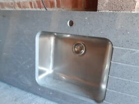 Grey granite kitchen worktop and sink