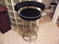 Tall Bar Stool - Black with Chrome frame - Very sturdy with lower back rest