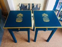Beautiful upcycled bedside tables. 46.5cm w X 70.5cm l. Please note handles are display only.