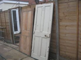 "2 old pine 4 panel doors one 30""x73 1/2"" one 29""x 761/2 £25 each"