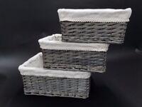 Set of 3 Wicker Storage Baskets - Good condition (Dark Grey)