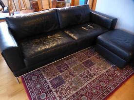 Leather Sofa, Armchair, Footstool