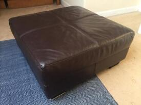 Large leather foot stool