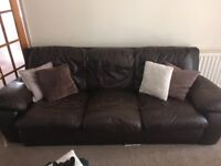 Comfy leather brown 3 seater
