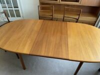 A VINTAGE/ANTIQUE A.H.McIntosh Kirkcaldy TEAK 6 SEATER DINING TABLE & 6 CHAIRS ,LOCAL DELIVERY